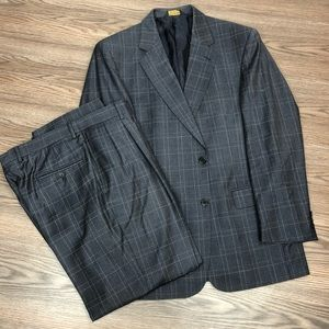 Jos A Bank Signature Gold Blue Plaid Suit 41R
